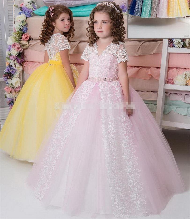 Longue à manches courtes jaune rose dentelle Tutu Princesse Pageant danse de mariage de bal anniversaire robe de bal