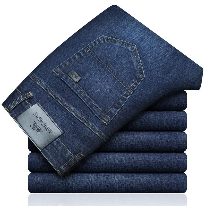 Laoyeche ماركة رجل الأعمال الجينز جديد أزياء رجالية جينز الأعمال عارضة الإمتداد سليم الكلاسيكية السراويل الجينز السراويل الذكور