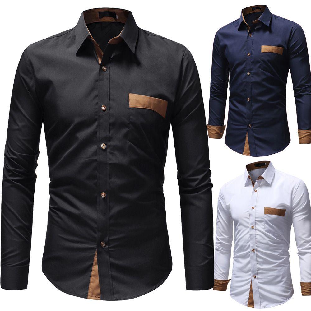 X-Future Men Slim Long Sleeve Lapel Neck Embroidery Casual Button Down Dress Work Shirt