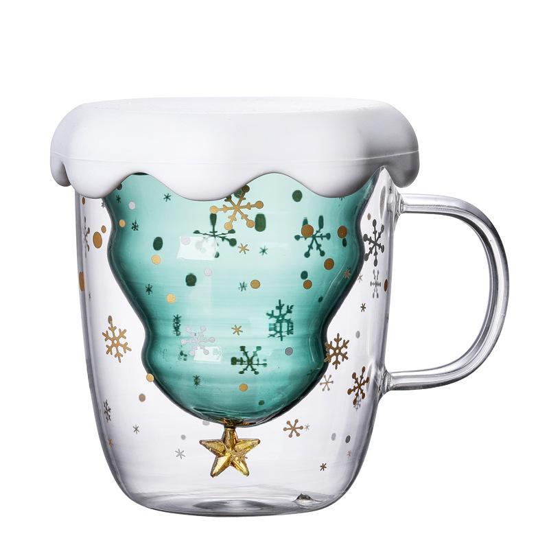 Coupe du verre d'arbre de Noël Tasse de chaleur double couche résistant à verres Petit-déjeuner Gruau Cup Bottes boire du lait tasse faite cadeau GGA2689