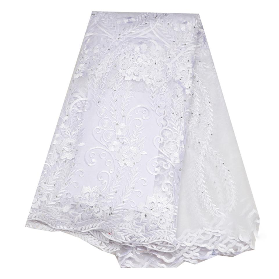 Tulle Lace Fabric With Sequins African Lace Fabric High Quality Embroidered French Net Lace For Women Dress New white
