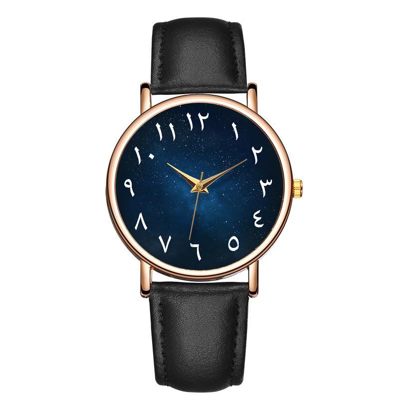 B-9112 Chiffres Arabe Cadran Montre-Bracelet Montre Relojes Hombre Britannique Bande de Cuir Sport Casual Montre Homme Relogios