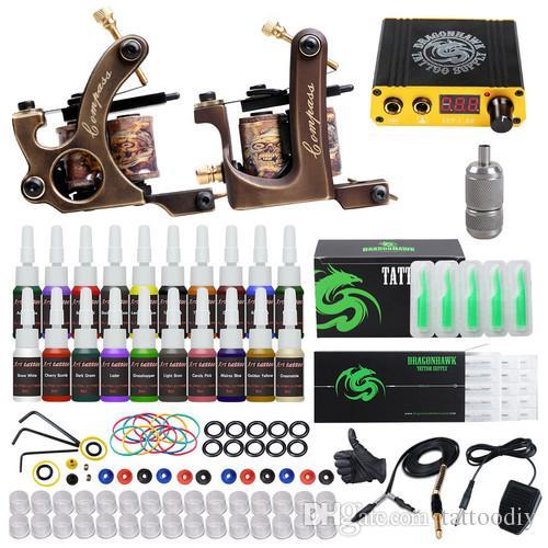 Professional Tattoo Kit Brass Coils Machines Liner Shader Guns Mini Power Supply Disposable Needles Inks Tattoo Set D3037