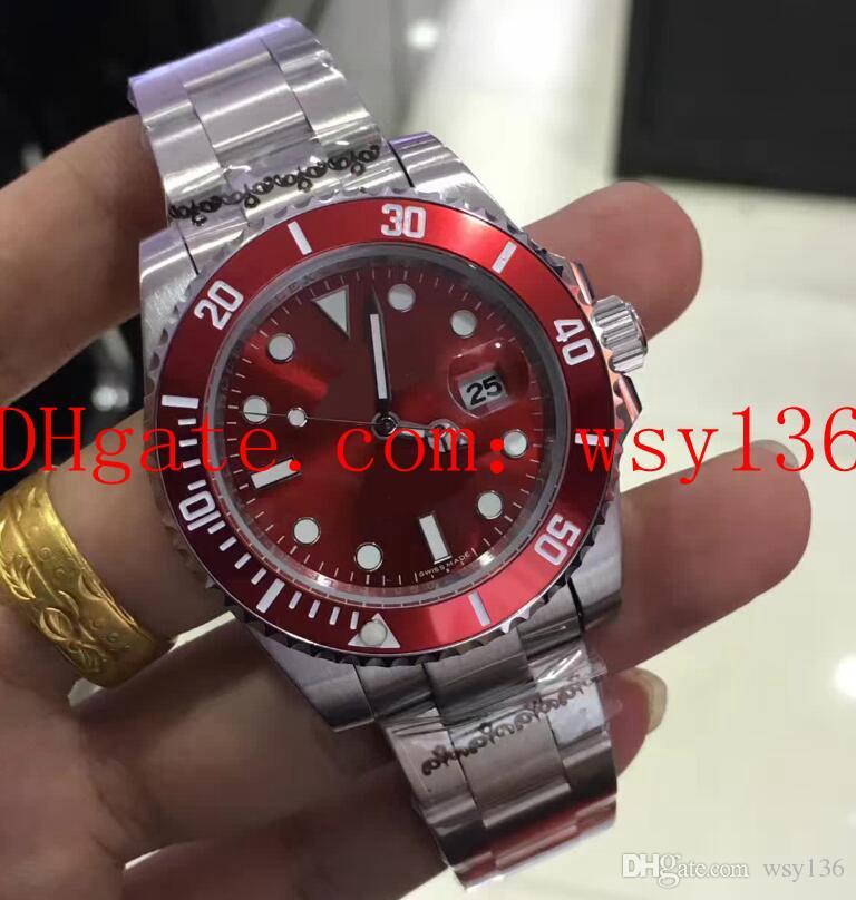 고품질 남성 날짜 시계 40mm 116610 레드 세라믹 베젤 스테인레스 스틸 아시아 2813 무브먼트 자동 기계 망 손목 시계