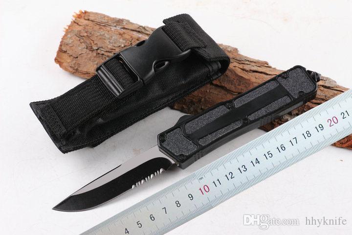 On Sale! DHL Fast Shipping Black Handle AUTO knife Drop Point Half Serration Blade Hunting EDC Pocket Knife Survival Knife Xmas gift