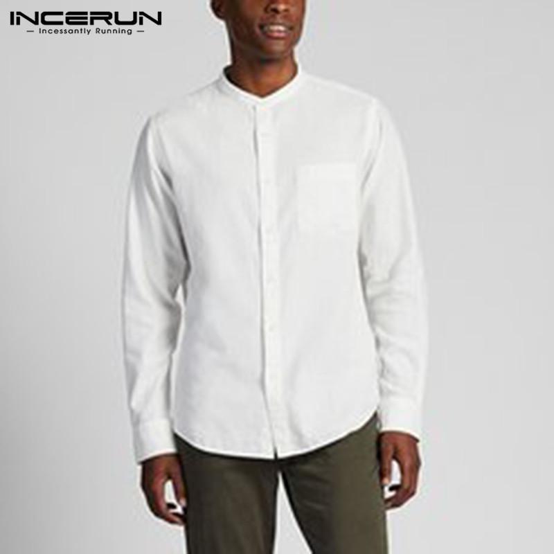 INCERUN Primavera uomini di marca camicia di cotone Solid Collare stand 2020 Chic maniche lunghe commerciali camice casuali Streetwear Camisas Hombre