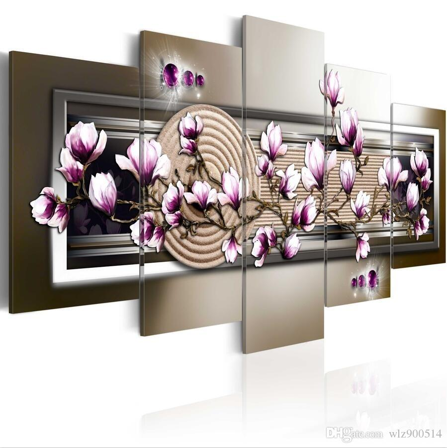 HD Fashion 5PCS/Set Purple Magnolia zen Flower Art Print Frameless Canvas Painting Wall Picture Home No Frame