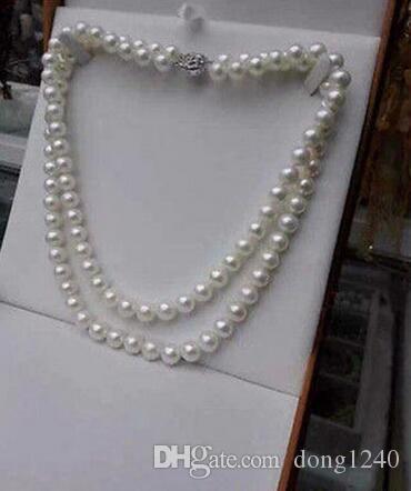 Frete Grátis 9-10 MM colarinho redondo de perlas 18inch19INCH