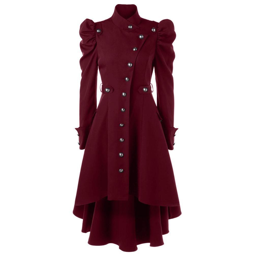 Forma-gótico Brasão Outono Inverno Longo Trench Preto Windbreaker Coats clássico Shrug roxo Assimetria Overcoat Europeu Vintage