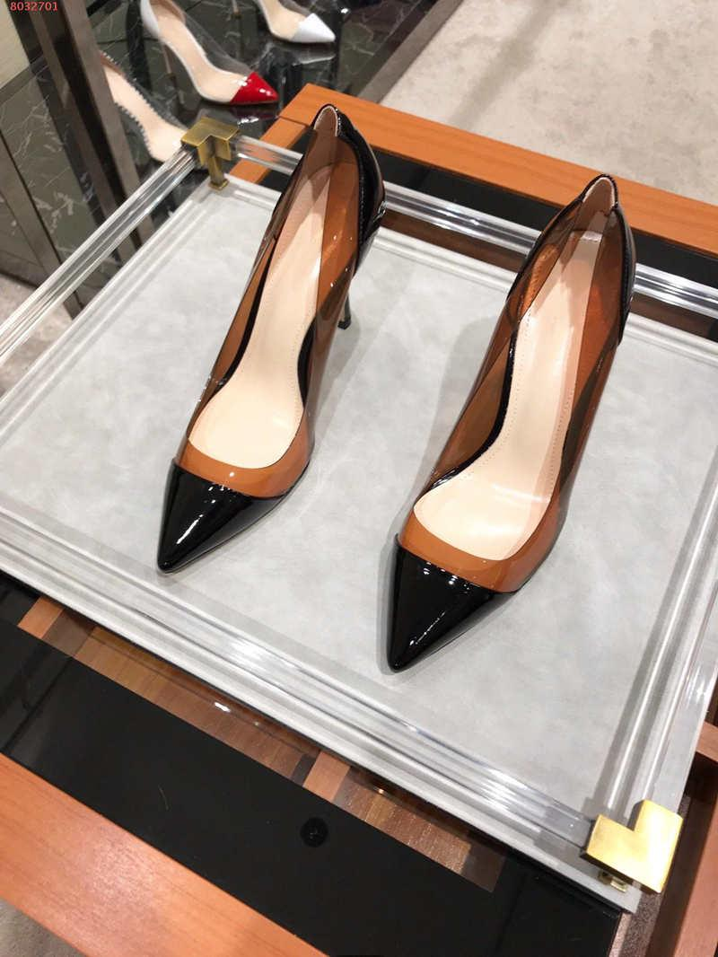 The high quality high-end custom Pointed Toe Women dress shoes Transparent material nobleness elegance Brand choice size 35-39