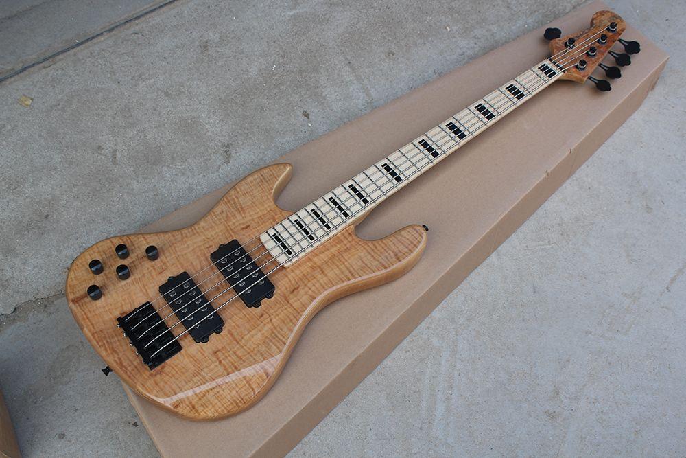 Фабрика Custom 5 струн Левая рука ASH Body Электрическая бас-гитара с кленовым грифом, черная фурнитура, индивидуальные предложения