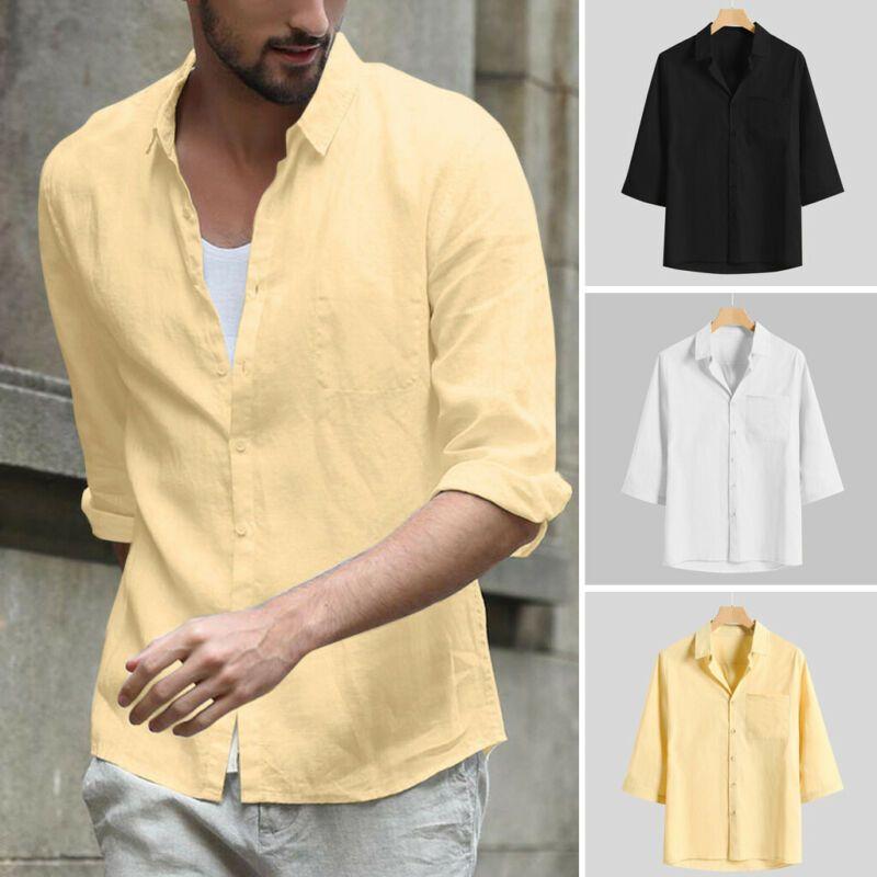 T-shirt T-shirts pour hommes T-shirt T-shirt Three Quarter Sleeve Bouton Soft Soft Bouton Soft avec Tops de poche Tee Solid Loose Mode 2021