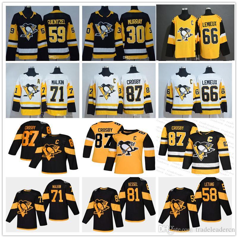 Juveniles señora del mens Pittsburgh Penguins 87 Sidney Crosby Estadio Evgeni Malkin Kris Letang Jake Guentzel Murray Hornqvist Lemieux Hockey jerseys