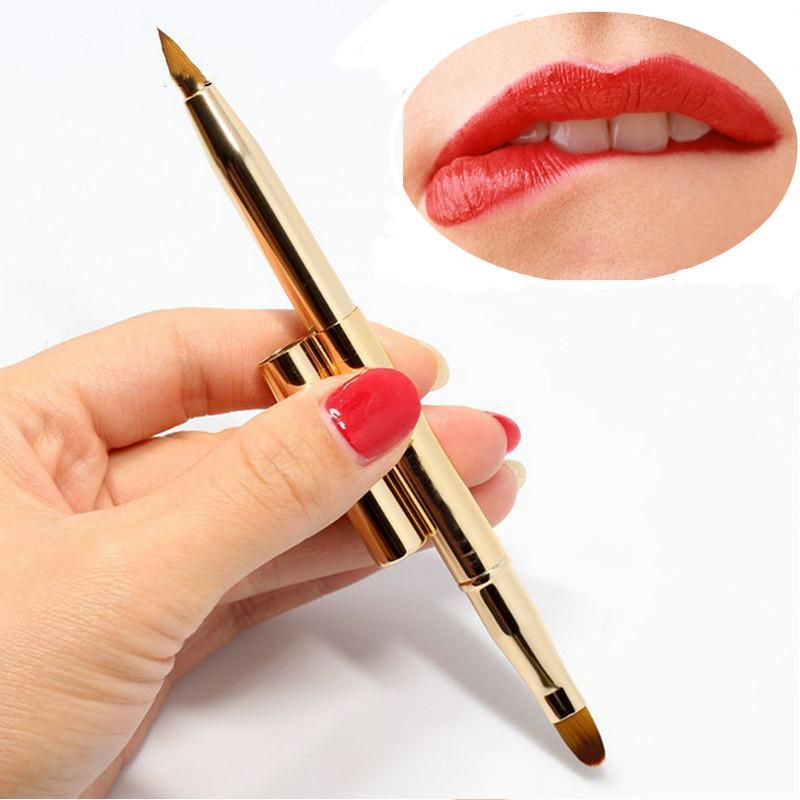 금속 프로 양방향 메이크업 브러쉬 개폐식 립 브러쉬 재단은 조정 도구 개폐식 립스틱 메이크업