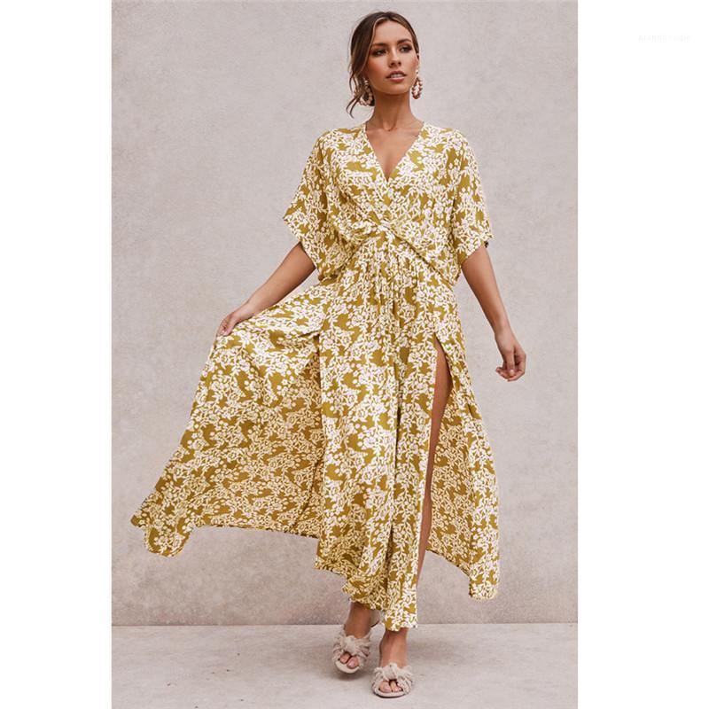 Для женщин Цветочного Printed платья Моды богемного стиля с коротким рукавом платье Sexy V-образный вырез Сплит платья Женщин Одежда