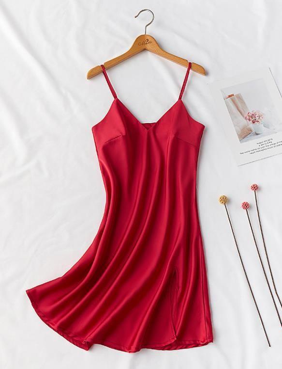 여자 시뮬레이션 실크 섹시한 수면 스커트 레이디 실크 새틴 잠옷 들러리 아침 의류 여름 바닥 스커트 여자 속옷
