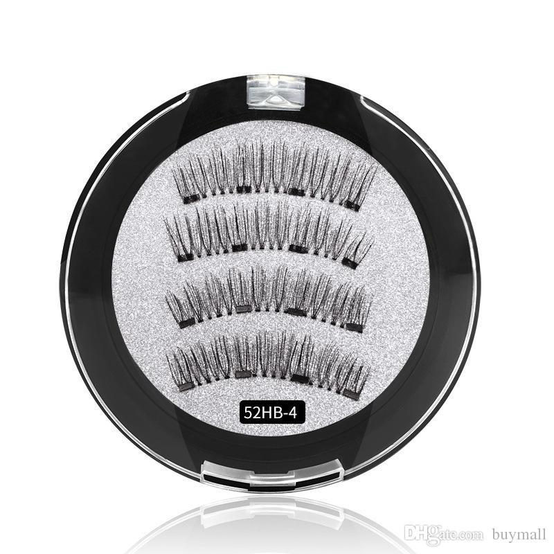 Neueste wiederverwendbare magnetische Wimpern 4 Magnete falsche Wimpern Handgefertigte natürliche Synethic Haare gefälschte Wimpern