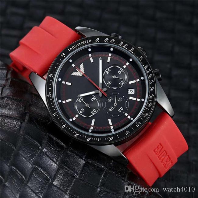 neue Luxus-Modedesigner schwarzes Zifferblatt einzigartiges Silikon große männliche Uhr relogio ino 45mm Militärsport großer Uhr der Männer,