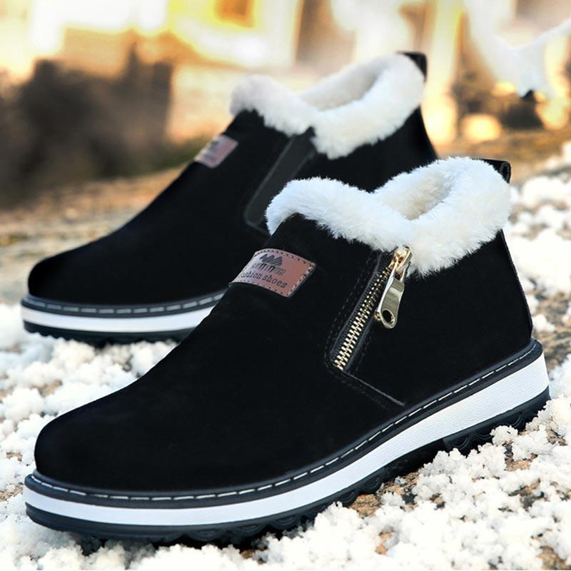 Теплая зима сапоги круглый носок Плюшевые голеностопного ботинка Мужская обувь New Solid Zipper Мода Металл хлопок плоские с снегоступы Мужчины Boots