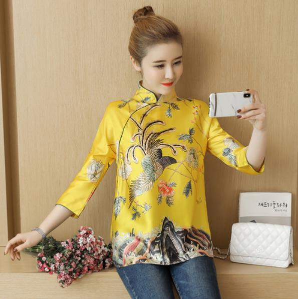 2020 Autumn RopaVintage Chinese style Autumn vintage printing blouse shirt LM91