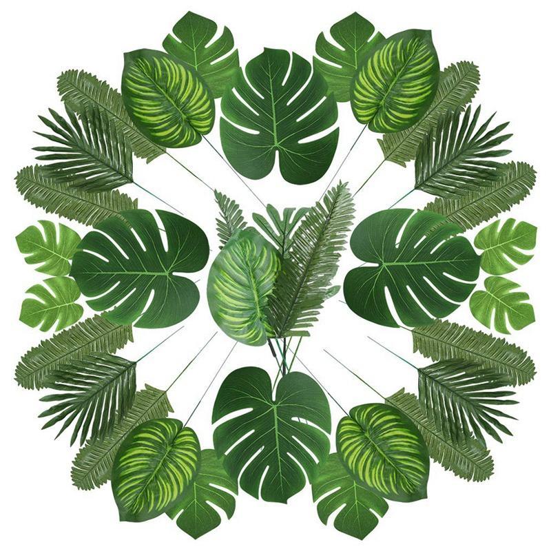 Le migliori 90 foglie di palma artificiale con il gambo per Tropical Party Decoration Aloha Jungle Beach Anniversario foglie di palma
