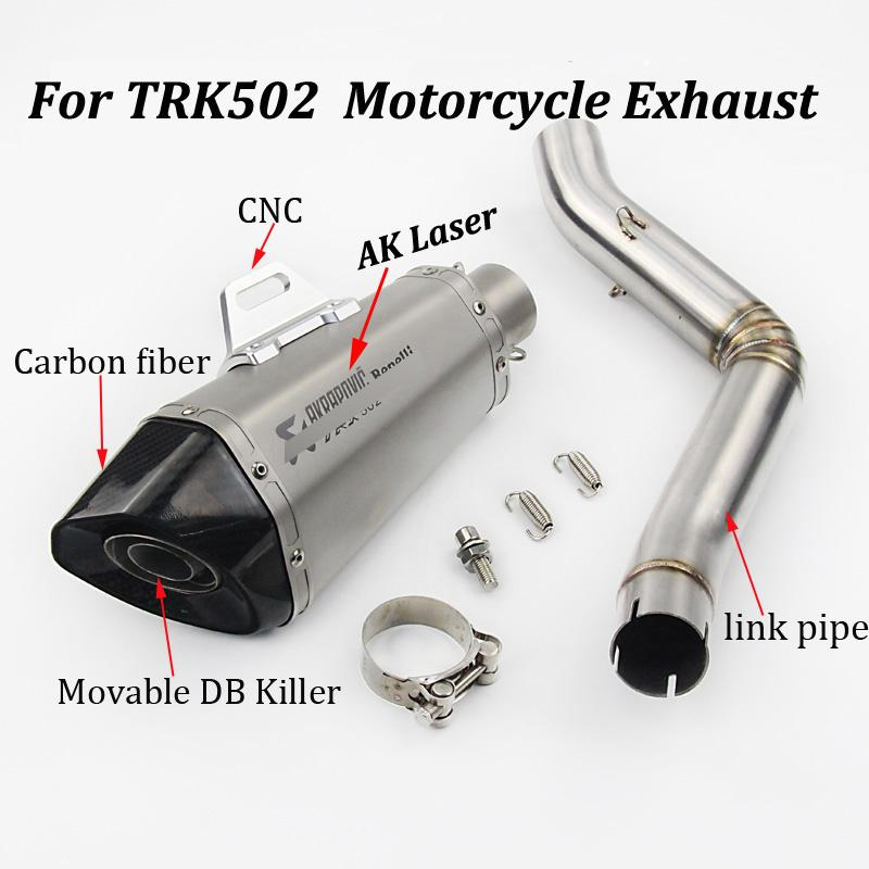 Sistema completo de escape de escape modificado de fibra de carbono de deslizamiento delantero del silenciador con Tubo de Enlace para Benelli 502 TRK