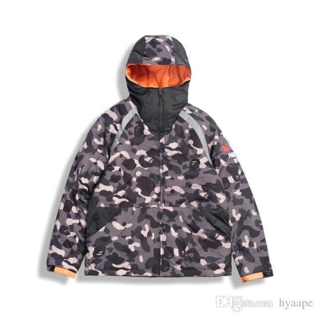 La nueva llegada al por mayor de la chaqueta de los hombres de gris Camo flojo grueso de los hombres de la cremallera chaqueta con capucha, chaqueta suelta otoño invierno