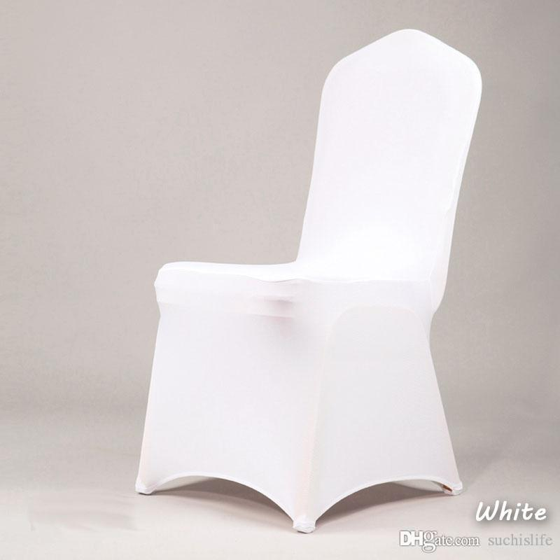 100pcs NEW Hotel Lycra Stretch Party Chair Covers White Polyester Spandex Wedding Chair Cover From China Factory 2017 20170629#