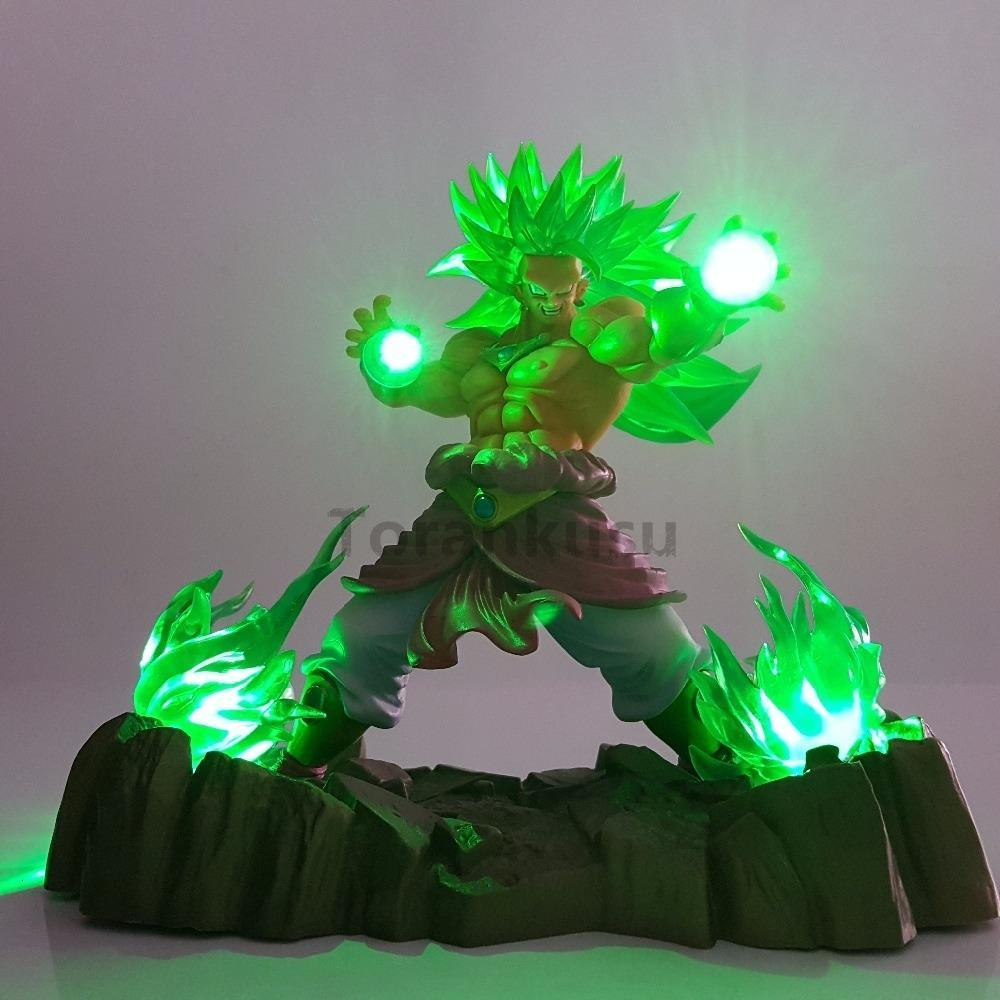 Dragon Ball Z Broly Super Saiyan Action Figures ha condotto la testa di illuminazione PVC Anime Dragon Ball Goku Super Broly Model Toy Figurine DBZ Y191105