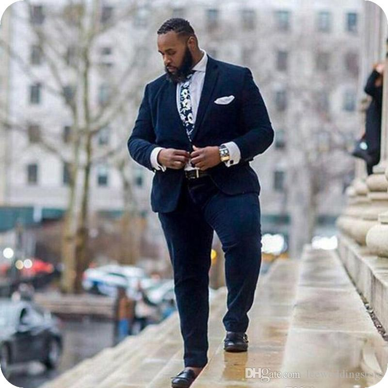 Navy Blue Mens Suits Notched Lapel Men Tuxedos Groom Wedding Suits Costumes Pour Hommes Plus Size Custom Made Bridegroom Formal Blazer Prom