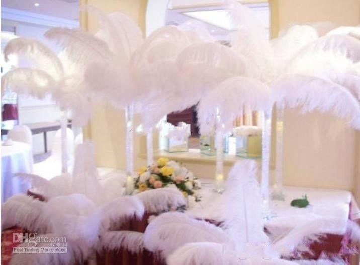 100шт за лот натурального белого страуса Перья Plume Centerpiece для венчания партии украшения стола (Много размеров для вас выбора