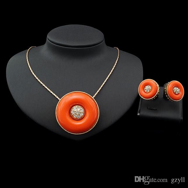 Yulaili Мода оранжевый и красный цвета смолы ожерелье серьги Rhinestone Лучшие качества Два комплекты ювелирных изделий Бесплатная доставка