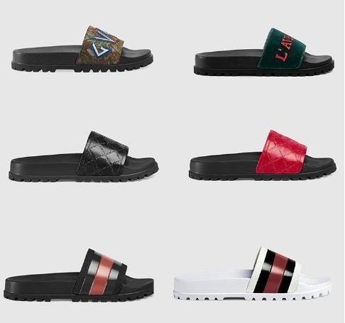 Con la scatola di diapositive scarpe pantofole dei sandali dell'annata di alta qualità broccato uomini pantofola ingranaggi fondo infradito da spiaggia a strisce pantofola causale con la scatola