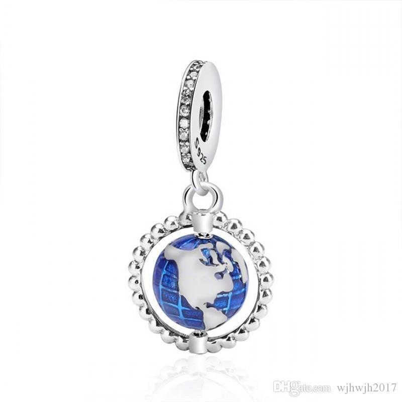 Yeni% 100 Orijinal 925 Gümüş Boncuk Mavi Emaye Globe Dangle Charm Fit Avrupa Kadınlar Hediye Charm Bilezik Kolye Diy Takı