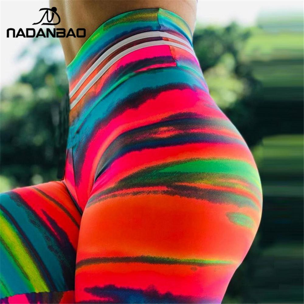 NADANBAO Sexy Push Up Sporting donne Colorful Sunset Glow 3D Stampa fitness Legging allenamento Legins vita alta Plus Size Y200113