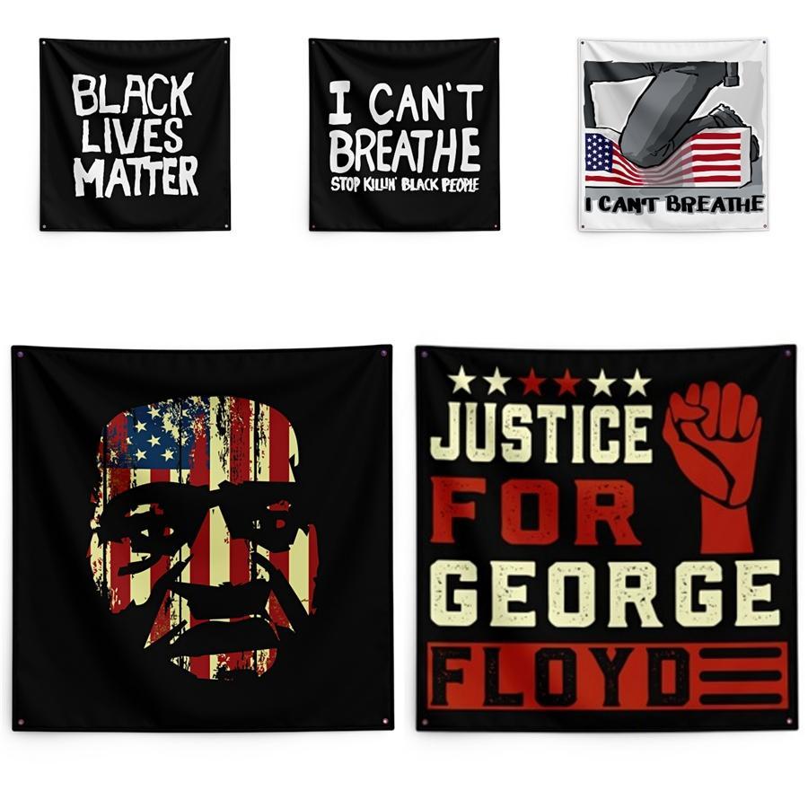 150*150cm I Cant Breathe Blanket George Floyd Printing Tapestry Black Lives Matter Household Wall Banner #QA28633