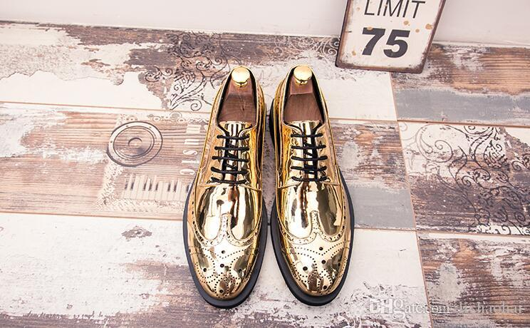 NOVOS homens clássicos de couro de ouro lace-up sapatos de negócios de moda de negócios de lazer noivo sapatos respirável mens vestido preto quente