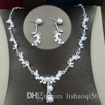 more color wedding bride diamond crystal 925 silver lady's necklace earrings set 9t6