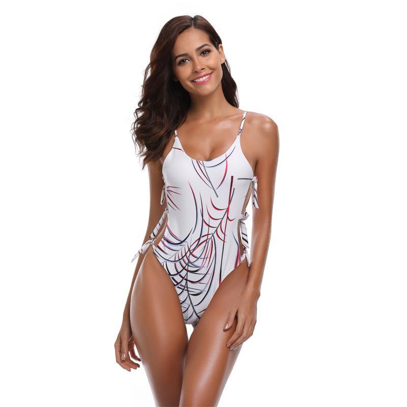 Yaz Moda Yeni kadın Mayo Sling Şerit Baskı Dikiş Askıları Tek parça Mayo Plaj Bikini