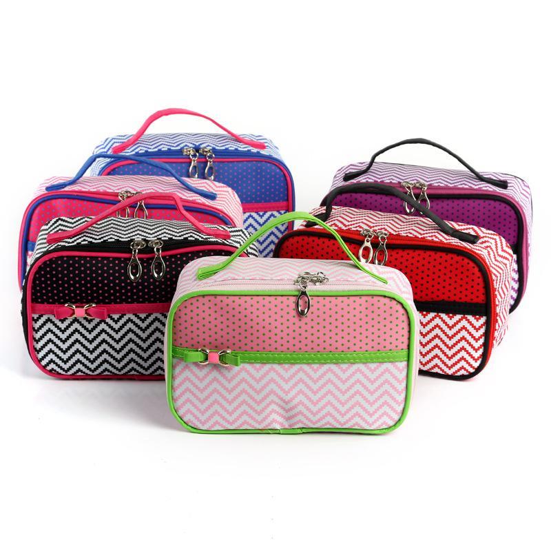 Волнистые косметические сумки женщины классические волнистые сумки водонепроницаемый макияж сумка точка печатных сумки для хранения с бантом организатор путешествий случае GGA2044