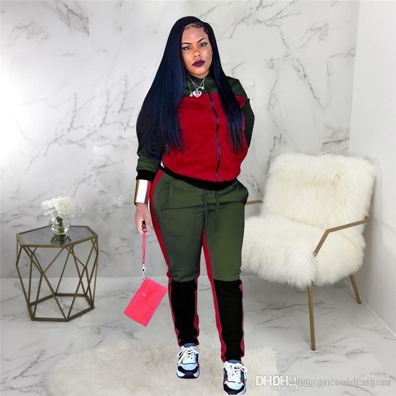 Womens Designer 2pcs Tracksuits Fashion Panelled 2pcs Set Casual Slim Female Sports Apparel