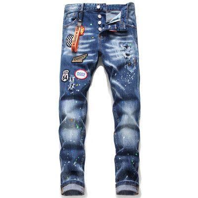 2020 europäische Marke schwarze Männer Italien Jeans Männer dünne Jeanshosen Mensdenimhose blaues Loch Bleistift-Hosen-Jeans für Männer Reißverschluss
