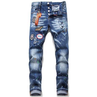 2020 marque européenne hommes noirs jean Italie hommes pantalon slim jeans hommes denim pantalon fermeture à glissière trou bleu crayon pantalon jeans pour les hommes