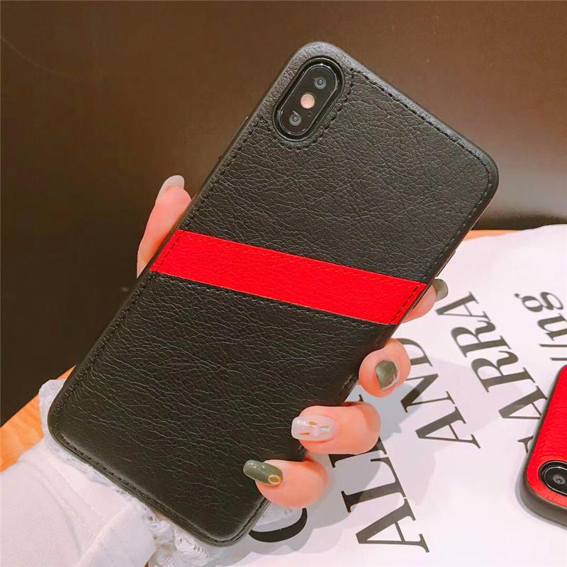 One Piece luxury phone case For iPhone 7 8P XR XS MAX 11PROMAX fashion double Leather Card Pocket designer back cover for gifts