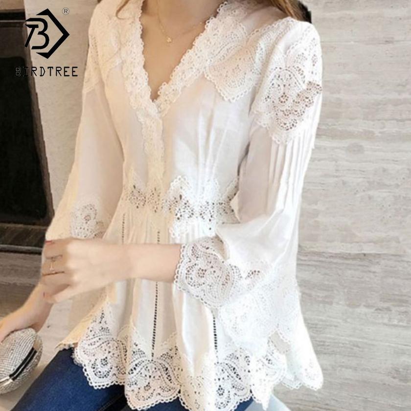 Resorte del otoño nueva llegada camisa dulce de las mujeres riza el V-cuello del cordón de remiendo ahueca hacia fuera a mujeres blusas tapas ocasionales T80202L CX200615