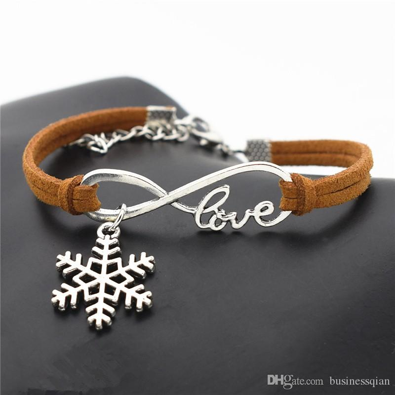 Hot Silver Infinity Love Snowflake Bracelet Silver Tone Eternity Symbol Charm Hand-woven Brown Leather Suede Rope Cuff Jewelry For Women Men