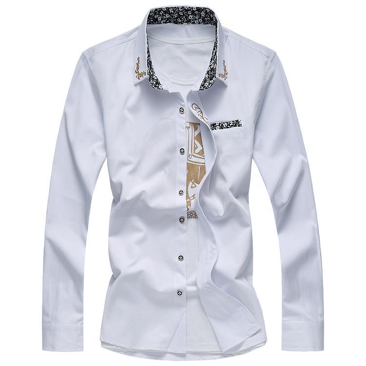 Camicie Casual Per Gli Uomini di Colore Solido Manica Lunga Marca Autunno di Grandi Dimensioni Moda Per Il Tempo Libero Camicie Slim Fit Maschio 5xl 6XL 7xl Gent vita