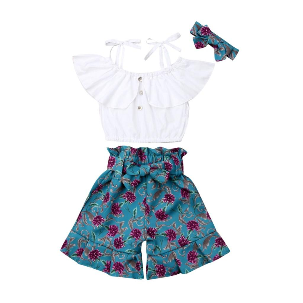 Baby Kids Girl Jumpsuit Outfit Summer Clothes Newborn Kids Off-Shoulder Ruffle Vest Tops+Printed Shorts+Headbands Outfit Sunsuit