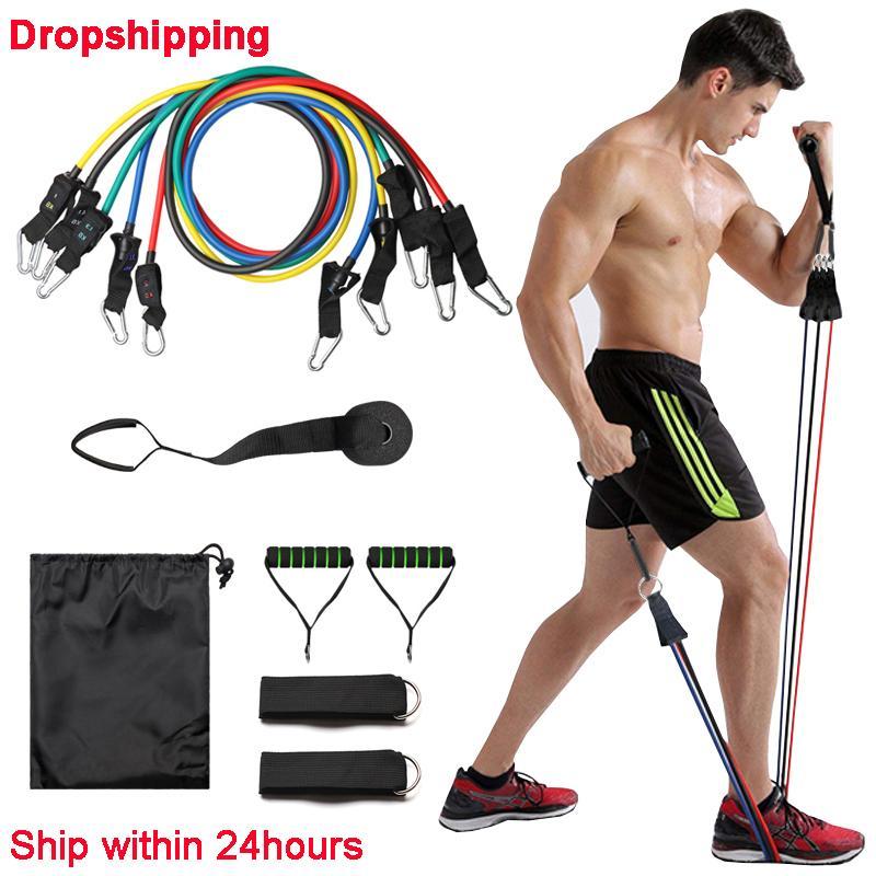 11pcs / set çekin Halat Spor Direnç Gruplar Lateks Tüpler Pedal Excerciser Vücut Eğitimi Egzersiz Yoga Y200506 Egzersizleri