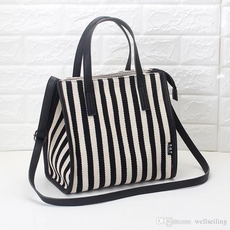 Женщины Повседневная тотализатор хозяйственная сумка большая емкость Strip холщовый мешок плеча пляжные сумки Повседневная сумка мама сумка